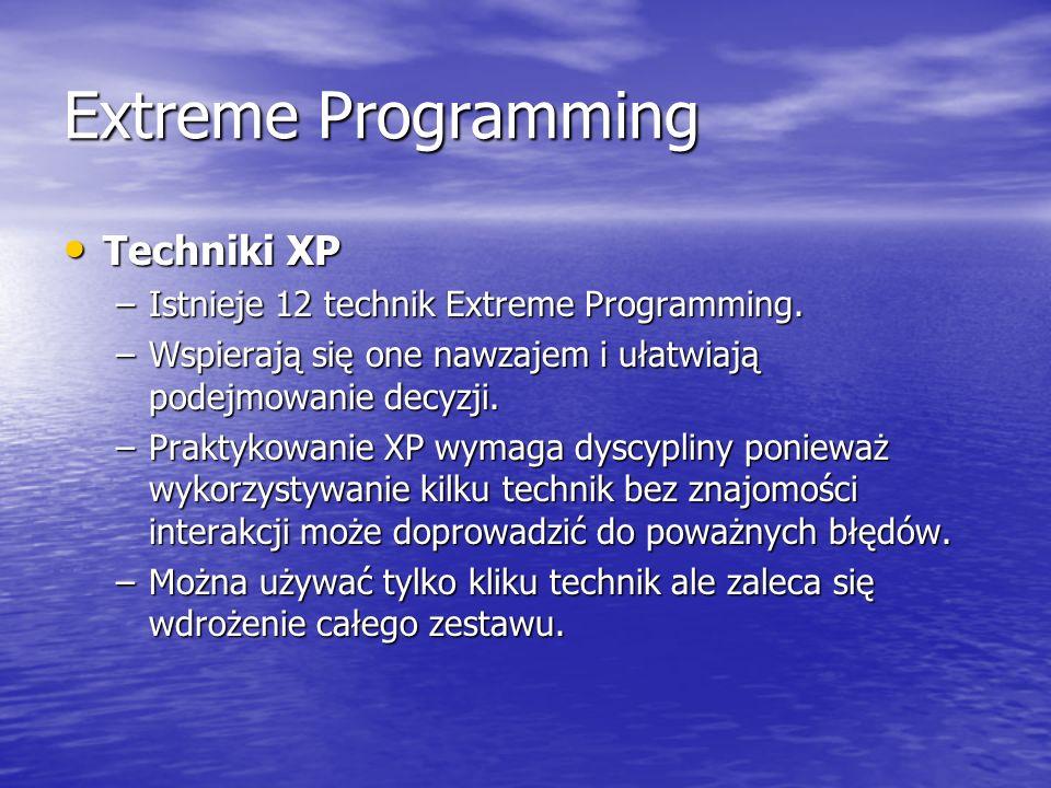 Extreme Programming Techniki XP Techniki XP –Istnieje 12 technik Extreme Programming. –Wspierają się one nawzajem i ułatwiają podejmowanie decyzji. –P