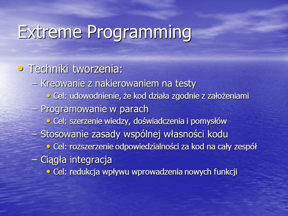 Extreme Programming Techniki tworzenia: Techniki tworzenia: –Kreowanie z nakierowaniem na testy Cel: udowodnienie, że kod działa zgodnie z założeniami