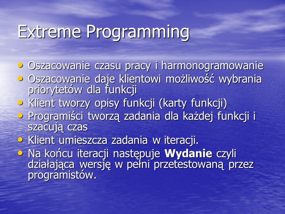 Extreme Programming Oszacowanie czasu pracy i harmonogramowanie Oszacowanie czasu pracy i harmonogramowanie Oszacowanie daje klientowi możliwość wybra