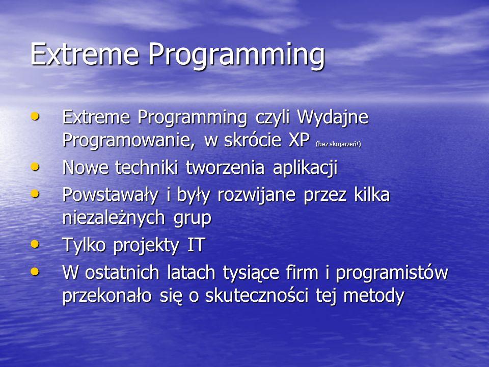 Extreme Programming Extreme Programming czyli Wydajne Programowanie, w skrócie XP (bez skojarzeń!) Extreme Programming czyli Wydajne Programowanie, w