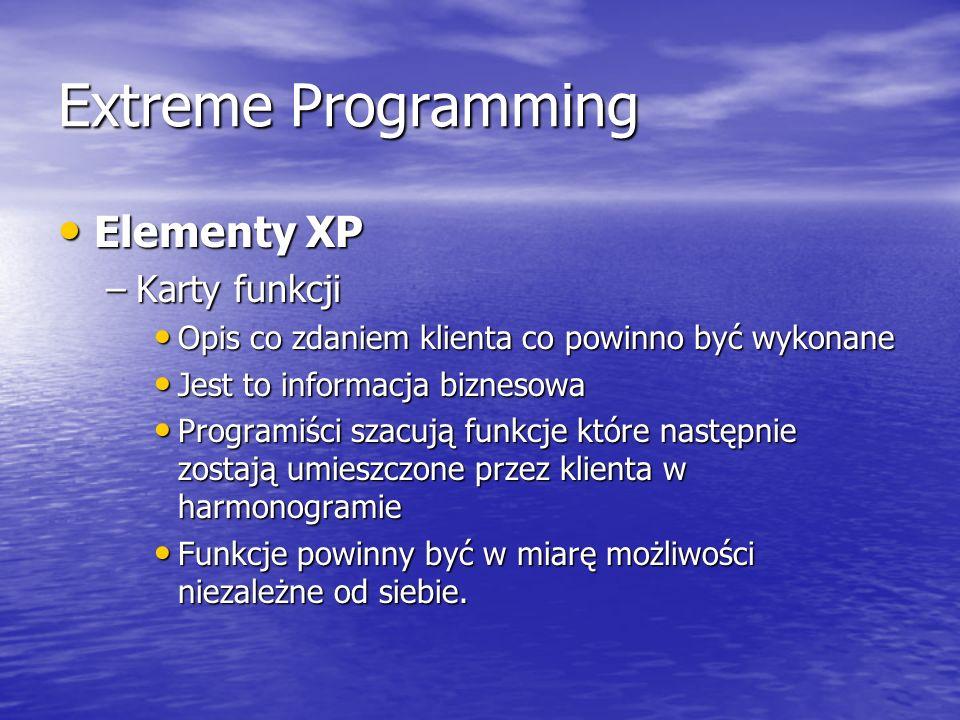 Extreme Programming Elementy XP Elementy XP –Karty funkcji Opis co zdaniem klienta co powinno być wykonane Opis co zdaniem klienta co powinno być wyko