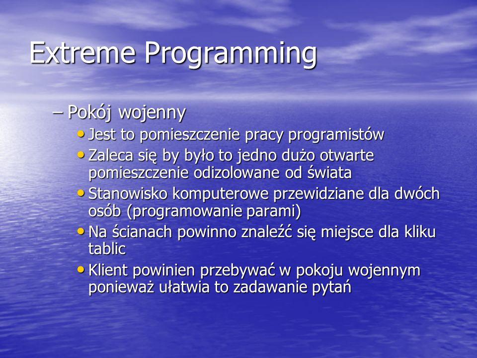Extreme Programming –Pokój wojenny Jest to pomieszczenie pracy programistów Jest to pomieszczenie pracy programistów Zaleca się by było to jedno dużo