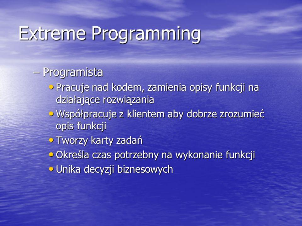 Extreme Programming –Programista Pracuje nad kodem, zamienia opisy funkcji na działające rozwiązania Pracuje nad kodem, zamienia opisy funkcji na dzia