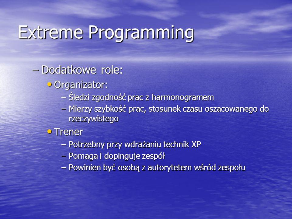 Extreme Programming –Dodatkowe role: Organizator: Organizator: –Śledzi zgodność prac z harmonogramem –Mierzy szybkość prac, stosunek czasu oszacowaneg