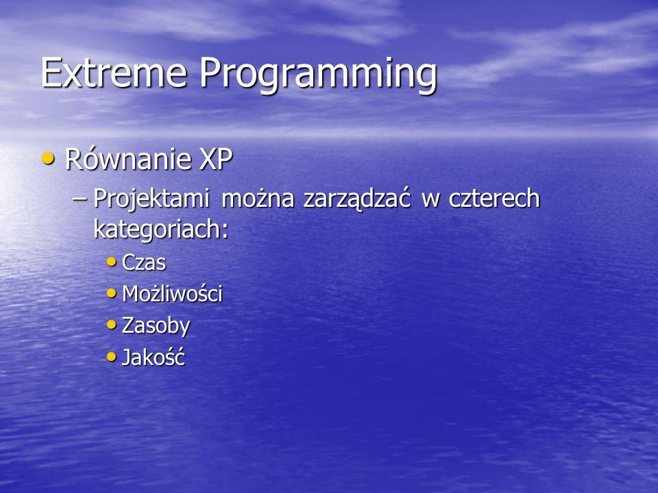 Extreme Programming Równanie XP Równanie XP –Projektami można zarządzać w czterech kategoriach: Czas Czas Możliwości Możliwości Zasoby Zasoby Jakość J