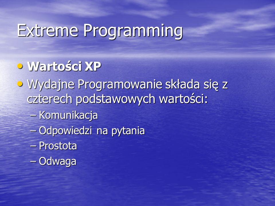 Extreme Programming Wartości XP Wartości XP Wydajne Programowanie składa się z czterech podstawowych wartości: Wydajne Programowanie składa się z czte