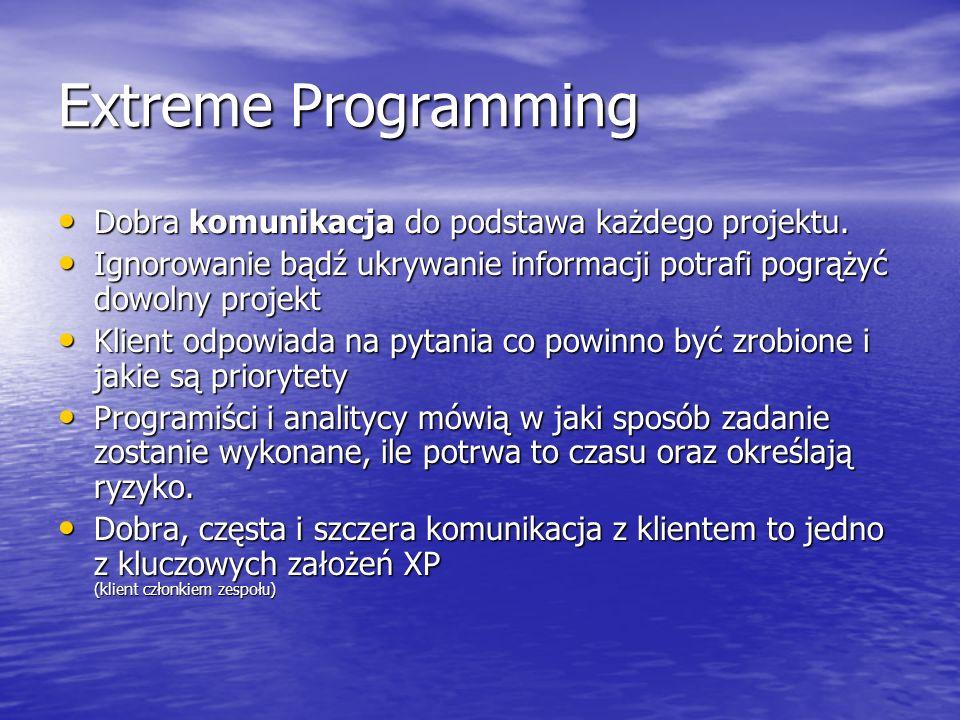 Extreme Programming Dobra komunikacja do podstawa każdego projektu. Dobra komunikacja do podstawa każdego projektu. Ignorowanie bądź ukrywanie informa