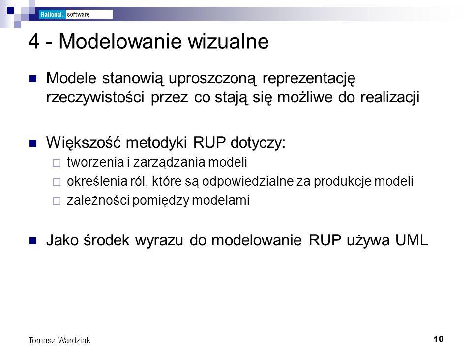 10 Tomasz Wardziak 4 - Modelowanie wizualne Modele stanowią uproszczoną reprezentację rzeczywistości przez co stają się możliwe do realizacji Większoś