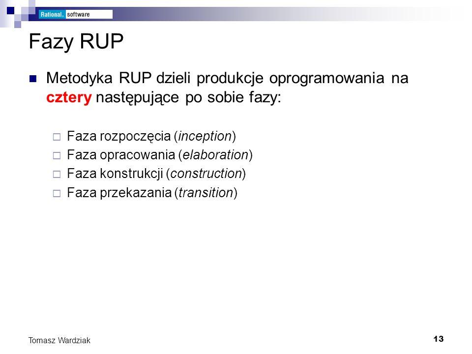 13 Tomasz Wardziak Fazy RUP Metodyka RUP dzieli produkcje oprogramowania na cztery następujące po sobie fazy: Faza rozpoczęcia (inception) Faza opraco