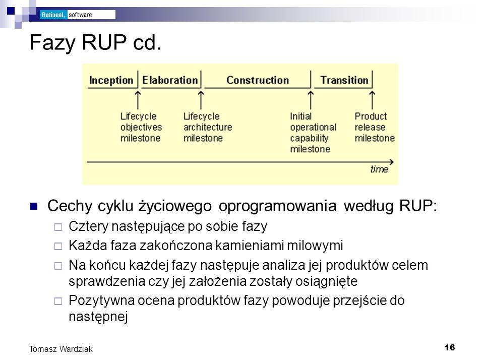 16 Tomasz Wardziak Fazy RUP cd. Cechy cyklu życiowego oprogramowania według RUP: Cztery następujące po sobie fazy Każda faza zakończona kamieniami mil