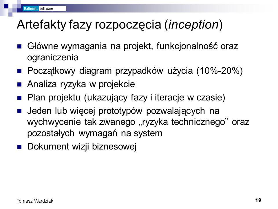 19 Tomasz Wardziak Artefakty fazy rozpoczęcia (inception) Główne wymagania na projekt, funkcjonalność oraz ograniczenia Początkowy diagram przypadków