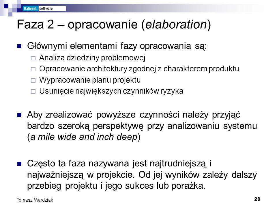 20 Tomasz Wardziak Faza 2 – opracowanie (elaboration) Głównymi elementami fazy opracowania są: Analiza dziedziny problemowej Opracowanie architektury