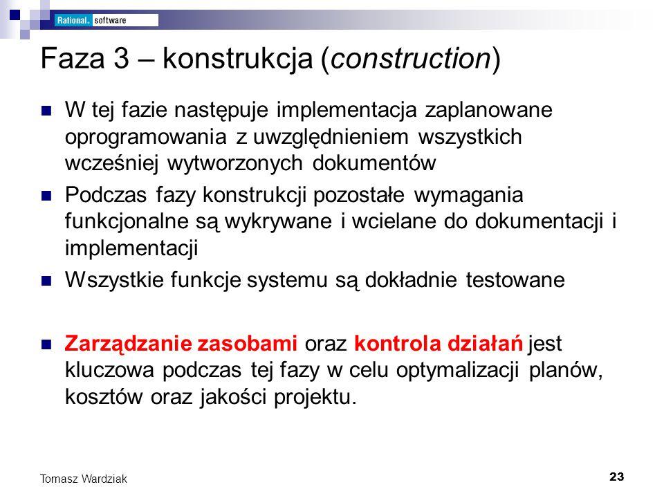 23 Tomasz Wardziak Faza 3 – konstrukcja (construction) W tej fazie następuje implementacja zaplanowane oprogramowania z uwzględnieniem wszystkich wcze