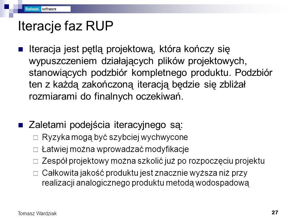 27 Tomasz Wardziak Iteracje faz RUP Iteracja jest pętlą projektową, która kończy się wypuszczeniem działających plików projektowych, stanowiących podz