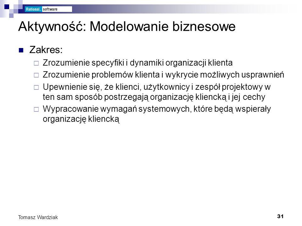 31 Tomasz Wardziak Aktywność: Modelowanie biznesowe Zakres: Zrozumienie specyfiki i dynamiki organizacji klienta Zrozumienie problemów klienta i wykry