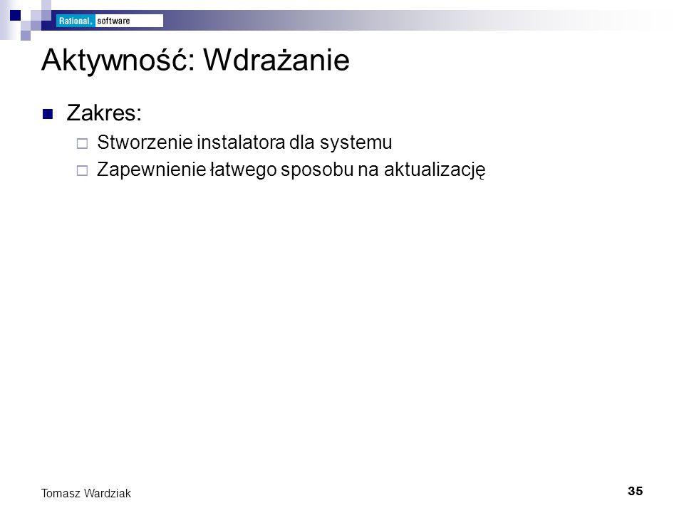 35 Tomasz Wardziak Aktywność: Wdrażanie Zakres: Stworzenie instalatora dla systemu Zapewnienie łatwego sposobu na aktualizację