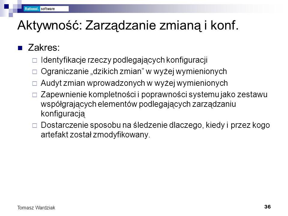 36 Tomasz Wardziak Aktywność: Zarządzanie zmianą i konf. Zakres: Identyfikacje rzeczy podlegających konfiguracji Ograniczanie dzikich zmian w wyżej wy