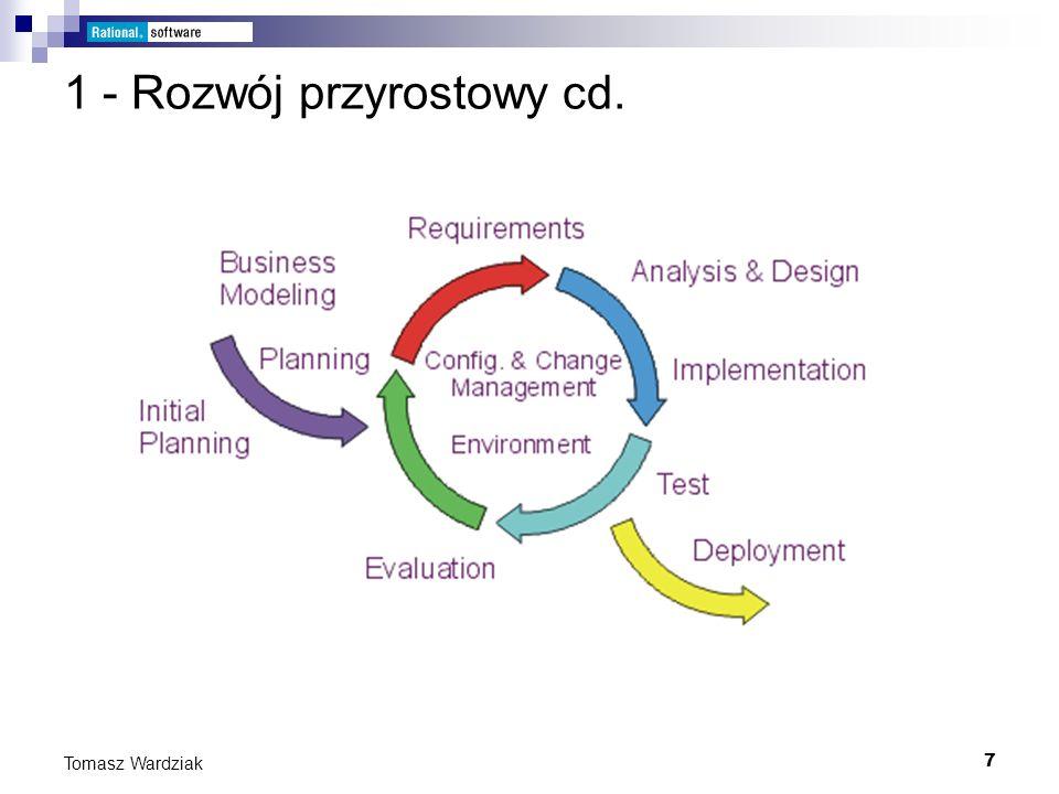 18 Tomasz Wardziak Faza 1 – rozpoczęcie (inception) Podczas fazy rozpoczęcia należy określić zakres projektu oraz przypadki użycia z punktu widzenia wizji klienta.