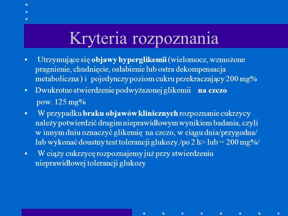 Kryteria rozpoznania Utrzymujące się objawy hyperglikemii (wielomocz, wzmożone pragnienie, chudnięcie, osłabienie lub ostra dekompensacja metaboliczna