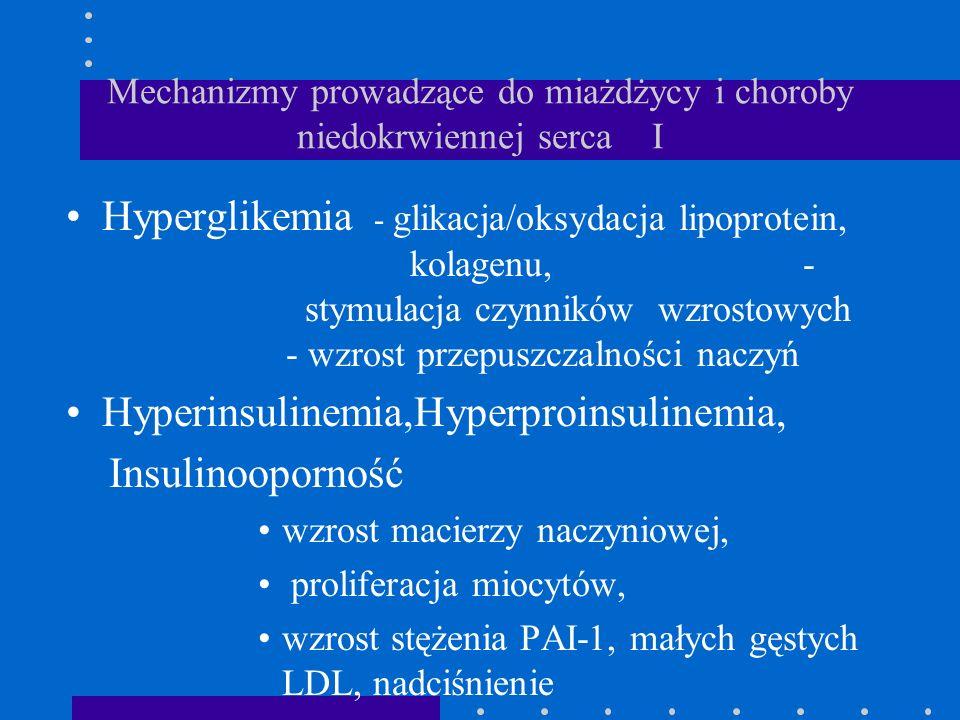 Mechanizmy prowadzące do miażdżycy i choroby niedokrwiennej serca I Hyperglikemia - glikacja/oksydacja lipoprotein, kolagenu, - stymulacja czynników w