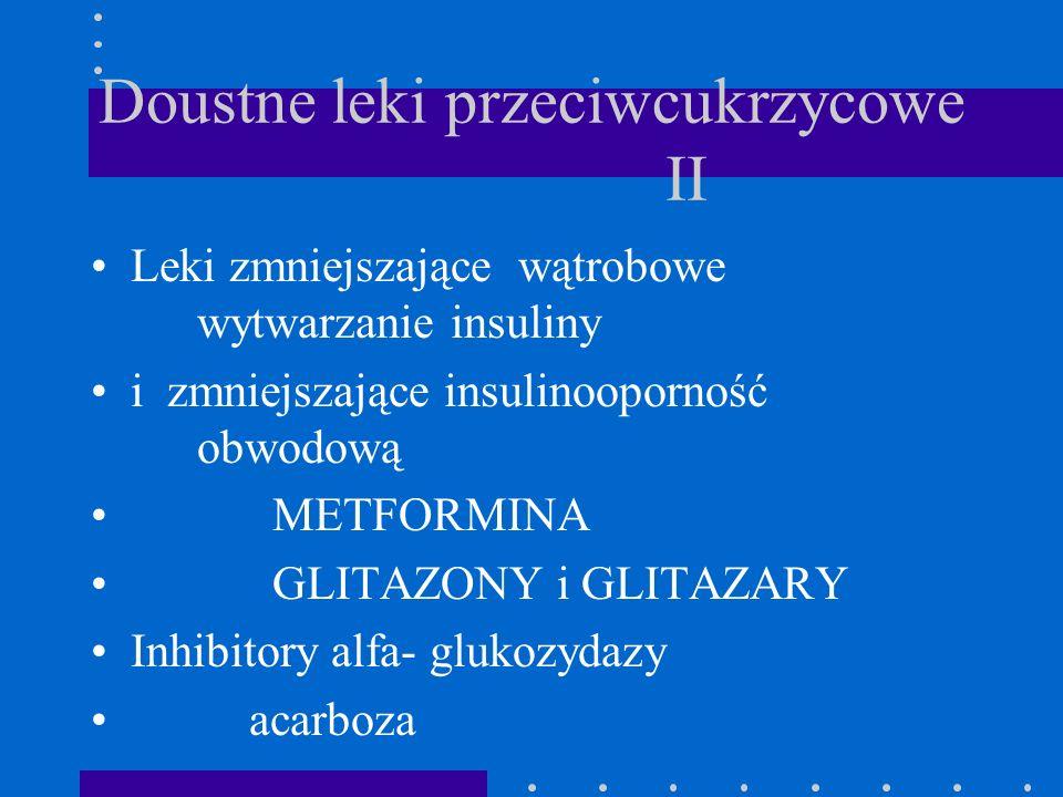 Doustne leki przeciwcukrzycowe II Leki zmniejszające wątrobowe wytwarzanie insuliny i zmniejszające insulinooporność obwodową METFORMINA GLITAZONY i G