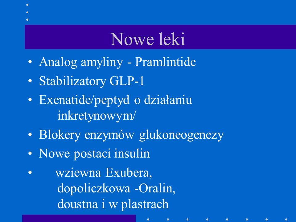 Nowe leki Analog amyliny - Pramlintide Stabilizatory GLP-1 Exenatide/peptyd o działaniu inkretynowym/ Blokery enzymów glukoneogenezy Nowe postaci insu
