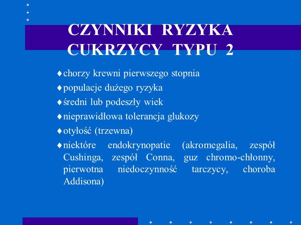CZYNNIKI RYZYKA CUKRZYCY TYPU 2 chorzy krewni pierwszego stopnia populacje dużego ryzyka średni lub podeszły wiek nieprawidłowa tolerancja glukozy oty