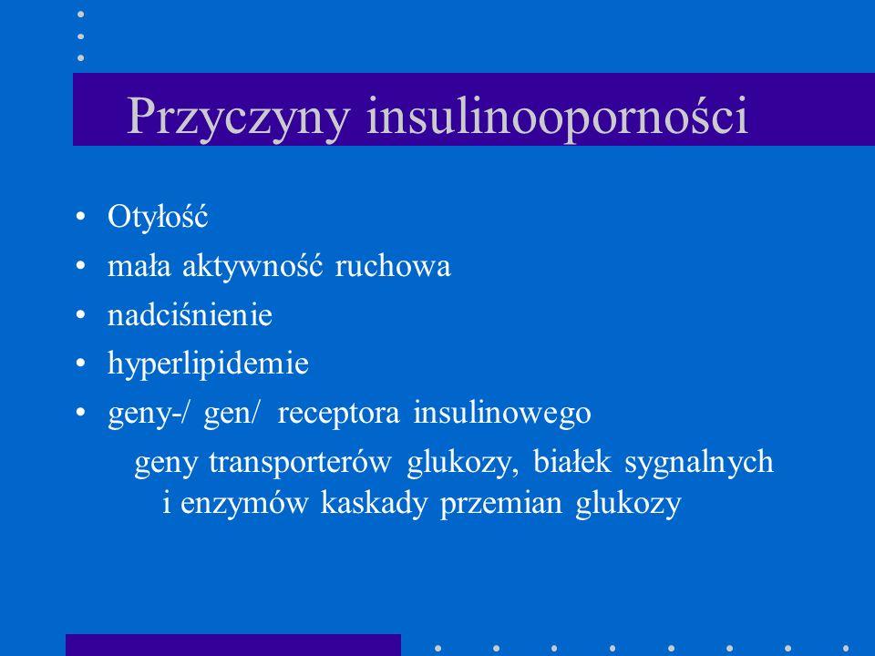 Przyczyny insulinooporności Otyłość mała aktywność ruchowa nadciśnienie hyperlipidemie geny-/ gen/ receptora insulinowego geny transporterów glukozy,