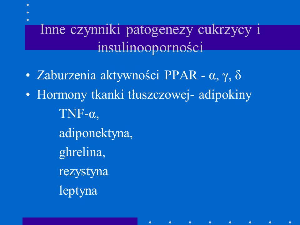 Inne czynniki patogenezy cukrzycy i insulinooporności Zaburzenia aktywności PPAR - α, γ, δ Hormony tkanki tłuszczowej- adipokiny TNF-α, adiponektyna,