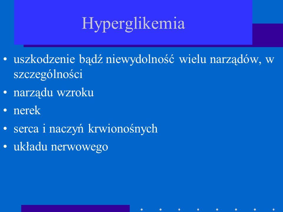 Hyperglikemia uszkodzenie bądź niewydolność wielu narządów, w szczególności narządu wzroku nerek serca i naczyń krwionośnych układu nerwowego