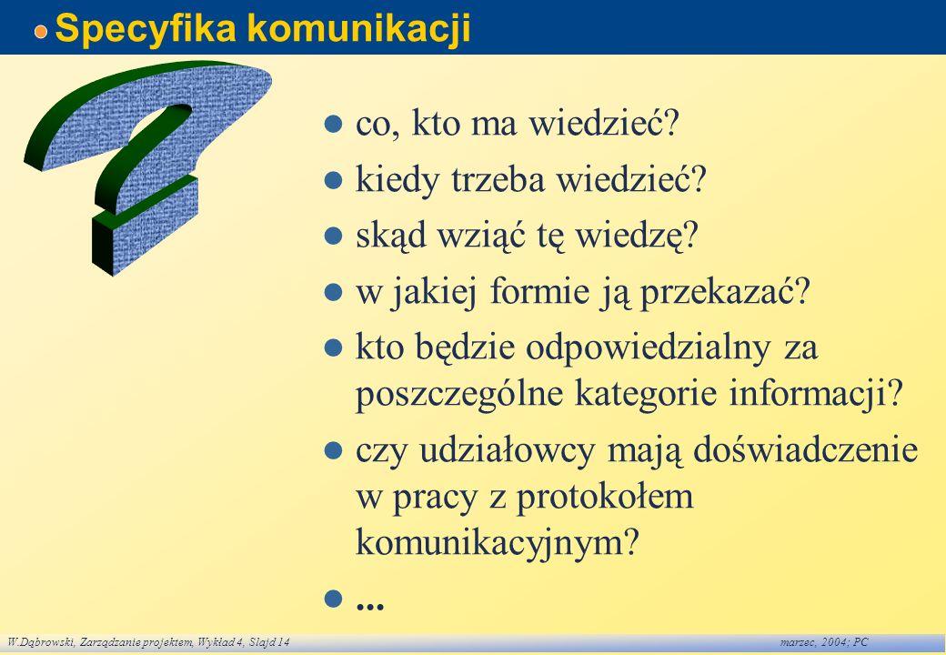 W.Dąbrowski, Zarządzanie projektem, Wykład 4, Slajd 14marzec, 2004; PC Specyfika komunikacji co, kto ma wiedzieć? kiedy trzeba wiedzieć? skąd wziąć tę