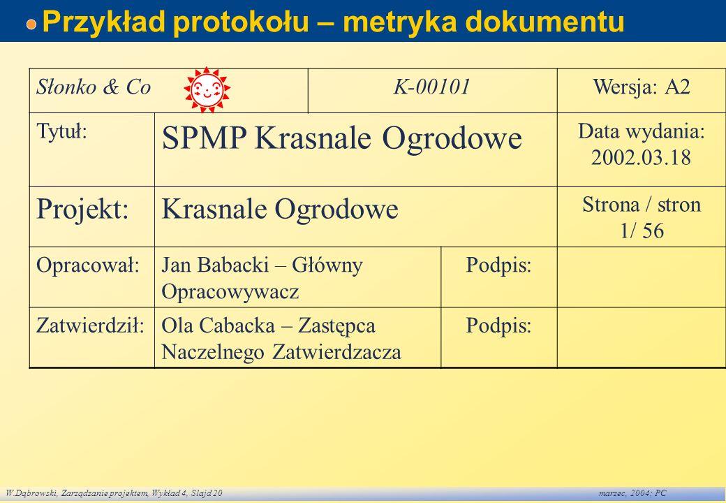 W.Dąbrowski, Zarządzanie projektem, Wykład 4, Slajd 20marzec, 2004; PC Przykład protokołu – metryka dokumentu Słonko & CoK-00101Wersja: A2 Tytuł: SPMP