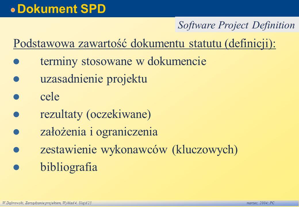 W.Dąbrowski, Zarządzanie projektem, Wykład 4, Slajd 25marzec, 2004; PC Dokument SPD Podstawowa zawartość dokumentu statutu (definicji): terminy stosow