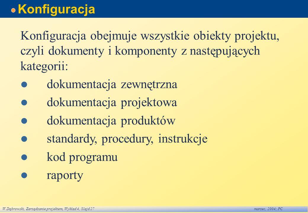 W.Dąbrowski, Zarządzanie projektem, Wykład 4, Slajd 27marzec, 2004; PC Konfiguracja Konfiguracja obejmuje wszystkie obiekty projektu, czyli dokumenty