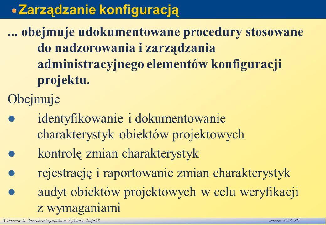 W.Dąbrowski, Zarządzanie projektem, Wykład 4, Slajd 28marzec, 2004; PC Zarządzanie konfiguracją... obejmuje udokumentowane procedury stosowane do nadz