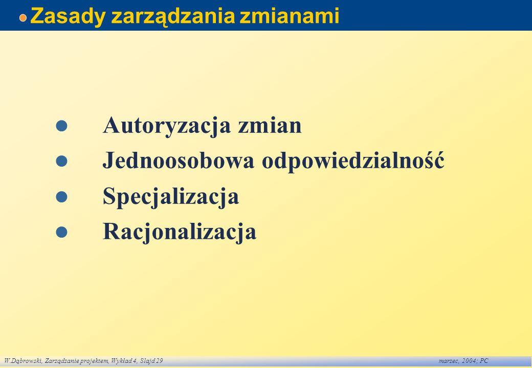 W.Dąbrowski, Zarządzanie projektem, Wykład 4, Slajd 29marzec, 2004; PC Zasady zarządzania zmianami Autoryzacja zmian Jednoosobowa odpowiedzialność Spe