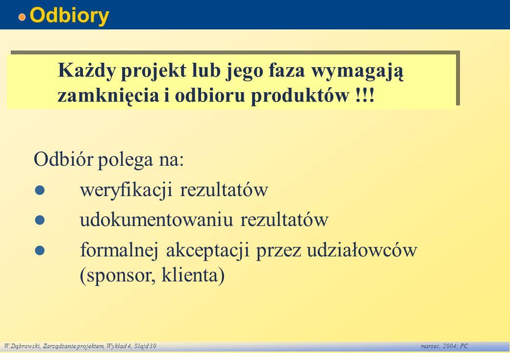 W.Dąbrowski, Zarządzanie projektem, Wykład 4, Slajd 30marzec, 2004; PC Odbiory Każdy projekt lub jego faza wymagają zamknięcia i odbioru produktów !!!