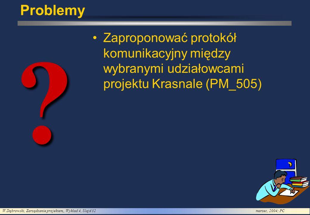 W.Dąbrowski, Zarządzanie projektem,, Wykład 4, Slajd 32marzec, 2004; PC Problemy? Zaproponować protokół komunikacyjny między wybranymi udziałowcami pr