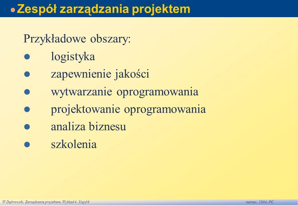 W.Dąbrowski, Zarządzanie projektem, Wykład 4, Slajd 6marzec, 2004; PC Zespół zarządzania projektem Przykładowe obszary: logistyka zapewnienie jakości