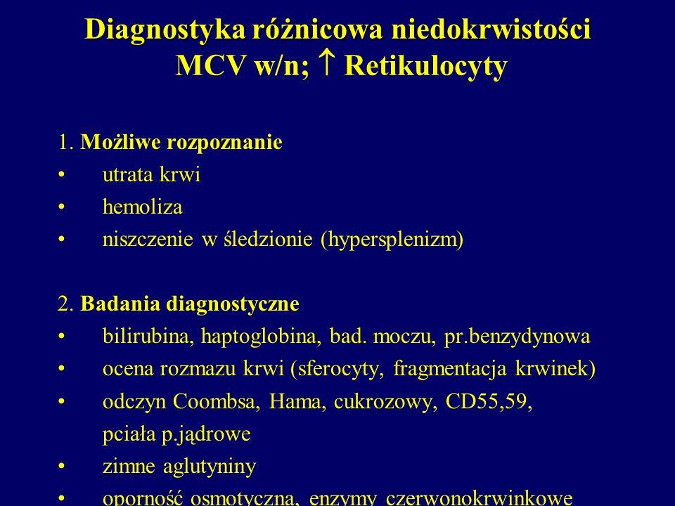 Diagnostyka różnicowa niedokrwistości Diagnostyka różnicowa niedokrwistości MCV w/n; Retikulocyty 1. Możliwe rozpoznanie utrata krwi hemoliza niszczen