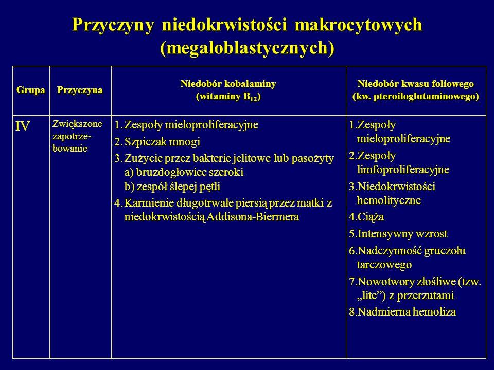 Przyczyny niedokrwistości makrocytowych (megaloblastycznych) 1. 1.Zespoły mieloproliferacyjne 2. 2.Zespoły limfoproliferacyjne 3. 3.Niedokrwistości he