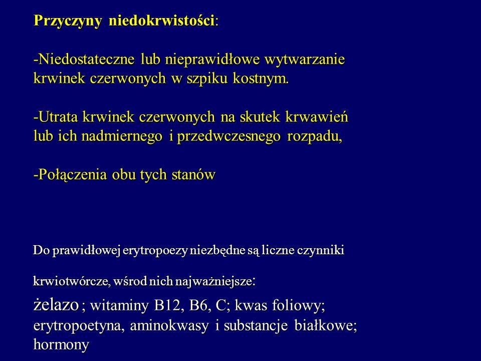 NIEDOKRWISTOŚCI Przyczyny niedokrwistości: -Niedostateczne lub nieprawidłowe wytwarzanie krwinek czerwonych w szpiku kostnym. -Utrata krwinek czerwony