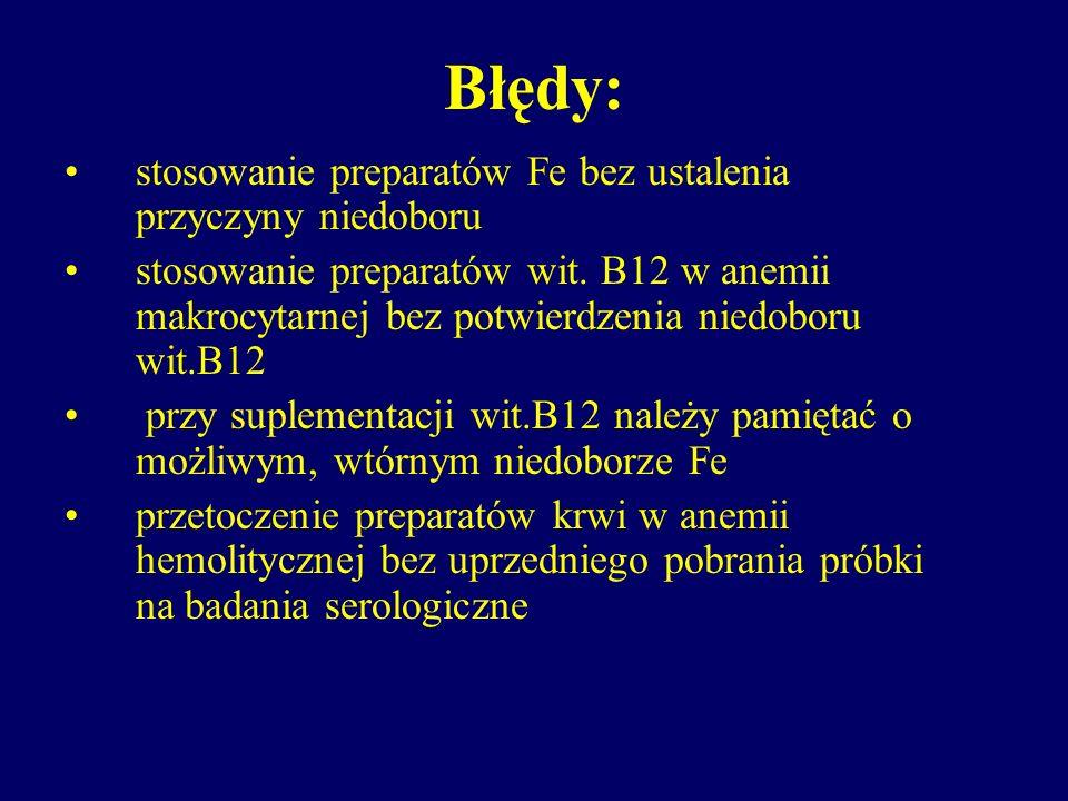 Błędy: stosowanie preparatów Fe bez ustalenia przyczyny niedoboru stosowanie preparatów wit. B12 w anemii makrocytarnej bez potwierdzenia niedoboru wi