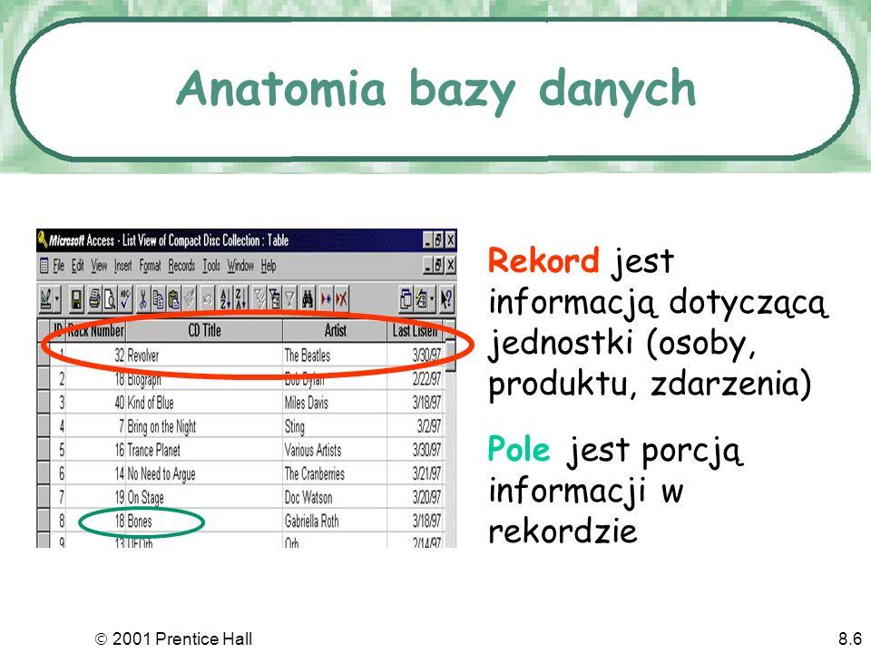 2001 Prentice Hall8.6 Anatomia bazy danych Rekord jest informacją dotyczącą jednostki (osoby, produktu, zdarzenia) Pole jest porcją informacji w rekordzie
