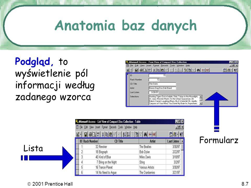 2001 Prentice Hall8.7 Anatomia baz danych Podgląd, to wyświetlenie pól informacji według zadanego wzorca Formularz Lista