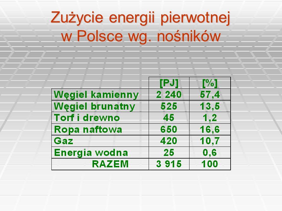 Struktura paliwowa zużycia energii pierwotnej w Polsce i Unii Europejskiej [%]