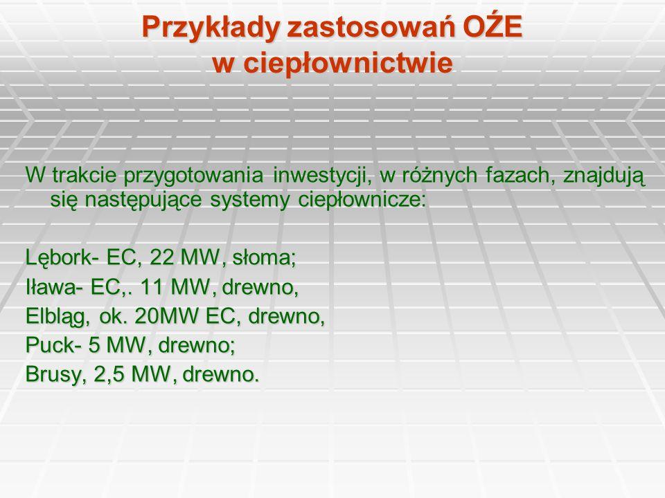 Przykłady zastosowań OŹE w ciepłownictwie W trakcie przygotowania inwestycji, w różnych fazach, znajdują się następujące systemy ciepłownicze: Lębork-