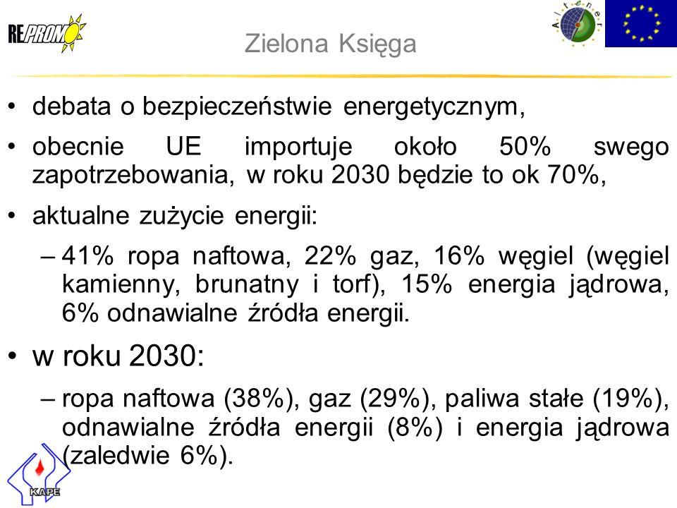 Zielona Księga debata o bezpieczeństwie energetycznym, obecnie UE importuje około 50% swego zapotrzebowania, w roku 2030 będzie to ok 70%, aktualne zu