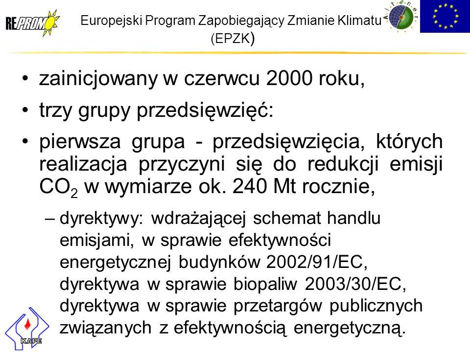 Europejski Program Zapobiegający Zmianie Klimatu (EPZK ) zainicjowany w czerwcu 2000 roku, trzy grupy przedsięwzięć: pierwsza grupa - przedsięwzięcia,