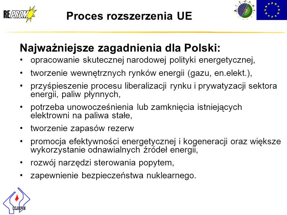 Proces rozszerzenia UE Najważniejsze zagadnienia dla Polski: opracowanie skutecznej narodowej polityki energetycznej, tworzenie wewnętrznych rynków en